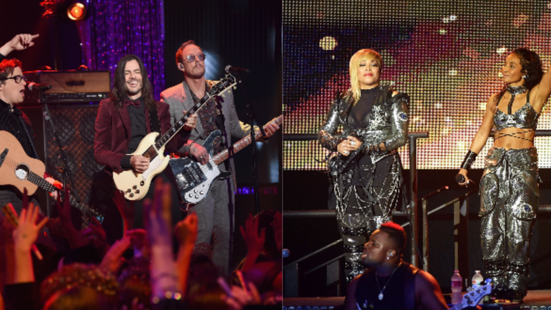 (L-R): Brian Bell, Rivers Cuomo and Scott Shriner of Weezer perform onstage during Dick Clark's New Year's Rockin' Eve With Ryan Seacrest 2019 on December 31, 2018 in Los Angeles, California.; Tionne 'T-Boz' Watkins (L) and Rozonda 'Chilli' Thomas of the music group 'TLC' perform onstage during the I Love The 90s The Party Continues on July 14, 2017 in Los Angeles, California.