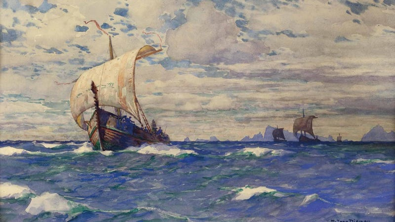 """Viking Ships Before a Rocky Coast,"" by Michael Zeno Diemer (1911)"