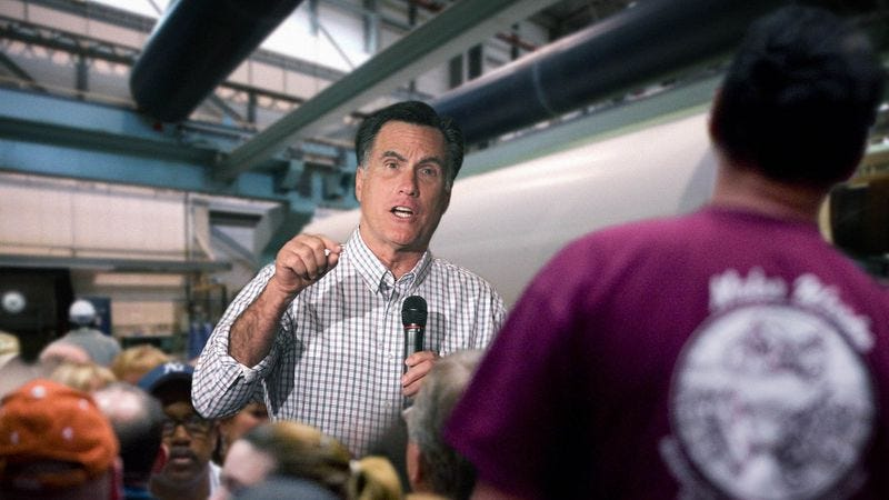 Illustration for article titled Romney Spends Most Of Factory Visit Yelling At Employees To Work Harder