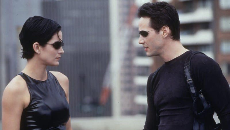 Neo and Trinity from The Matrix.