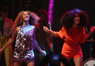 Beyoncé and Solange perform during day 2 of the 2014 Coachella Valley Music & Arts Festival April 12, 2014, in Indio, Calif. Imeh Akpanudosen/Getty Images for Coachella