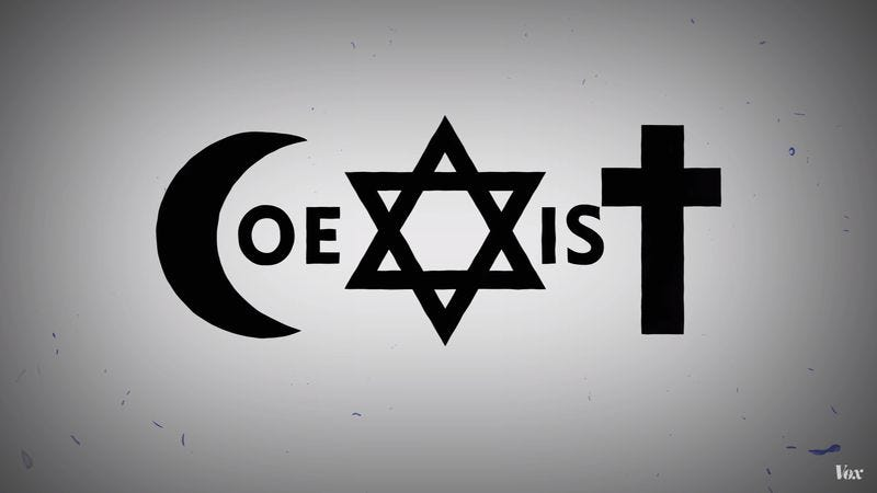 the contentious history of that peacepromoting �coexist� logo