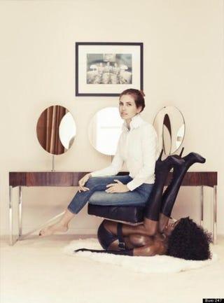 "Dasha Zhukova sitting on ""black woman"" chairTwitter"