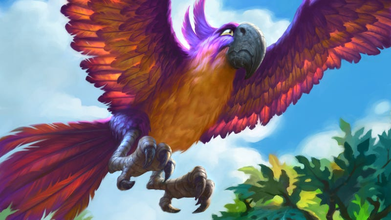 The Jeweled Macaw, a key card in Disguised Toast's Midrange Hunter deck.