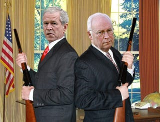 Illustration for article titled Bush, Cheney Stand Back-To-Back, Cock Shotguns One Last Time