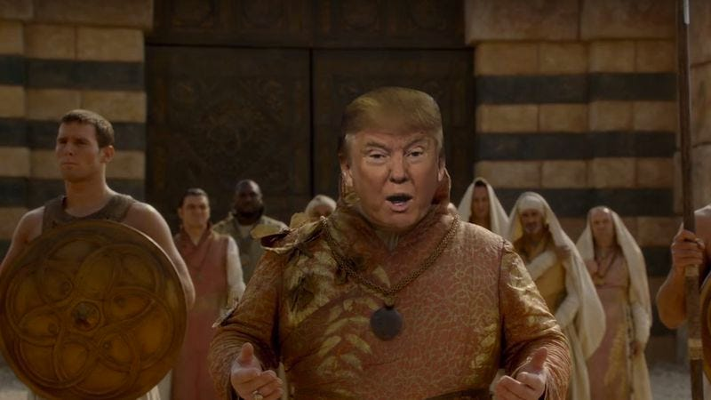 Illustration for article titled Donald Trump walks The Wall in this Game Of Thrones mashup