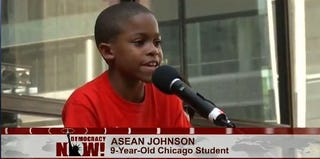 Asean Johnson speaks at a rally to save Chicago's public schools. (YouTube)