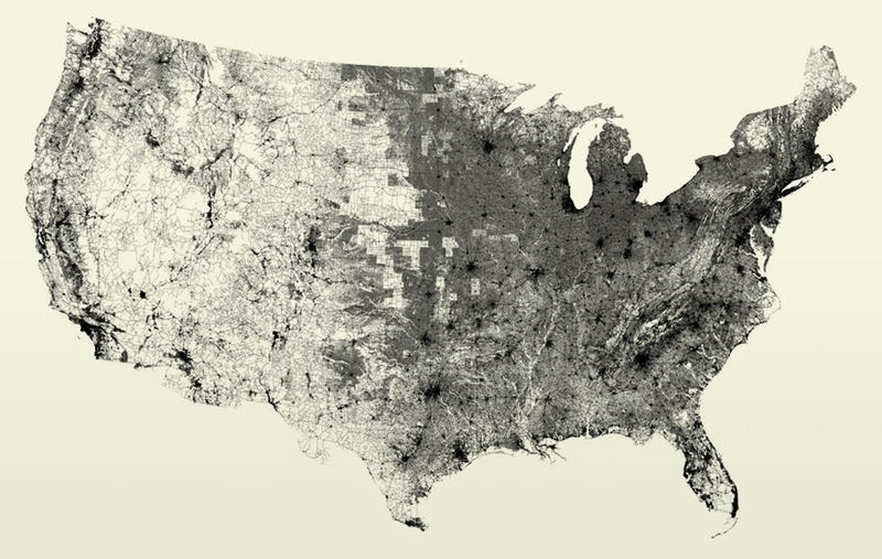 Illustration for article titled Map of the United States made exclusively with all its roads and streets