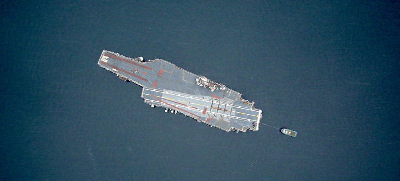 Illustration for article titled NASA Captured the Lonely Last Journey of an Aircraft Carrier