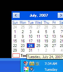 Illustration for article titled QuickMonth taskbar calendar
