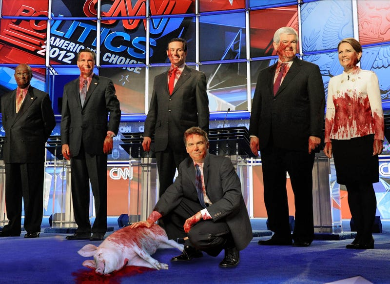 Illustration for article titled Latest GOP Debate Concludes With Candidates Wrestling Squealing Pig To Ground And Slaughtering It