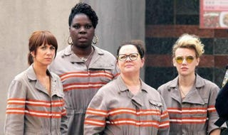 Kristen Wiig, Leslie Jones, Melissa McCarthy and Kate McKinnon in Ghostbusters movie poster Columbia Pictures