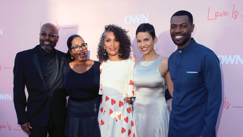 (L-R) Director Salim Akil, actress Oprah Winfrey, writer Mara Brock Akil, and actors Michele Weaver and William Catlett attend the premiere of OWN's 'Love Is_' on June 11, 2018 in Los Angeles, California.
