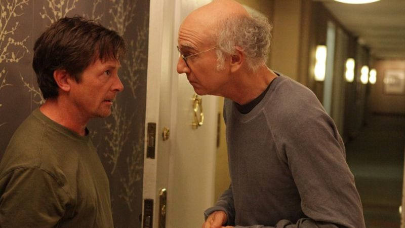 """Illustration for article titled Curb Your Enthusiasm: """"Larry Vs. Michael J. Fox"""""""