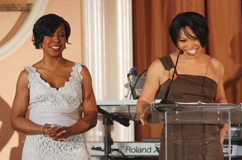 Actresses Tichina Arnold (L) and Tisha Campbell-Martin speak during the 39th NAACP Image Awards Nominee Luncheon at the Beverly Hills Hotel February 9, 2008, in Beverly Hills, California.