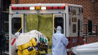 Dr. Martin Salia, a surgeon infected with the Ebola virus while working in Sierra Leone, as he was taken to the Nebraska Medical Center on Nov. 15, 2014, in Omaha, Neb.Eric Francis/Getty Images