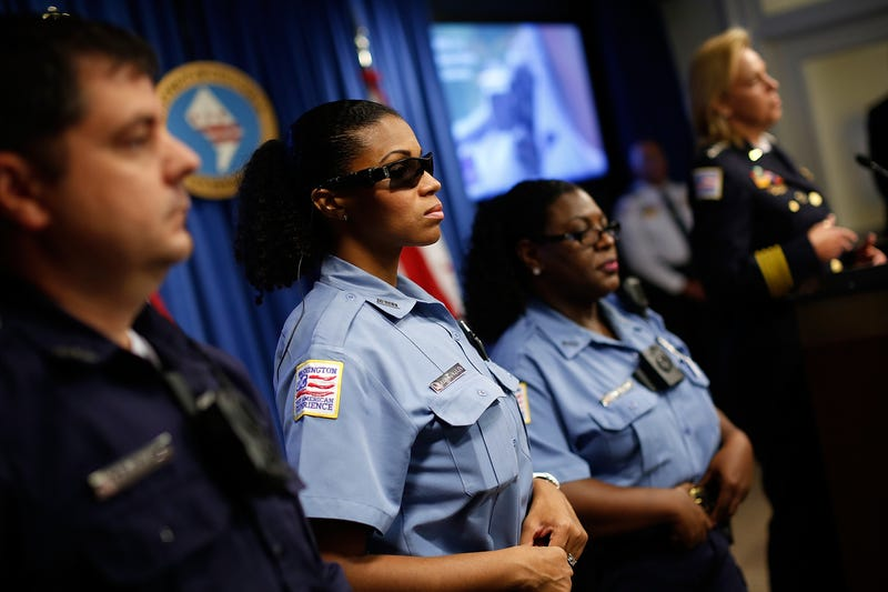 Metropolitan Police officers during a press conference announcing the details of the bodycam program Sept. 24, 2014, in Washington, D.C. (Win McNamee/Getty Images)