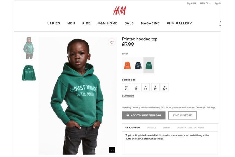 H&M U.K. advertisement screenshot (@CharlesMBlow via Twitter)