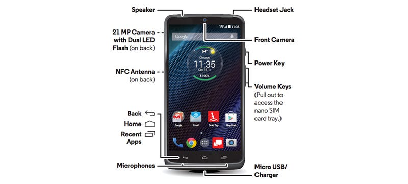 Illustration for article titled Leaked Droid Turbo Manual Shows a Super-Powered Motorola Smartphone