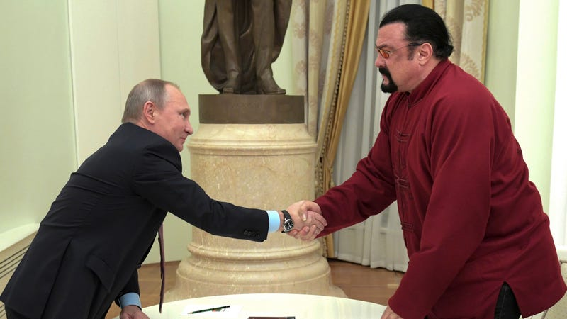Illustration for article titled Today on the Dumbest Timeline: Steven Seagal Picked to 'Improve' Russian & U.S. Relations
