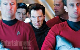 Illustration for article titled New Star Trek images surround Benedict Cumberbatch with red shirts... uh oh