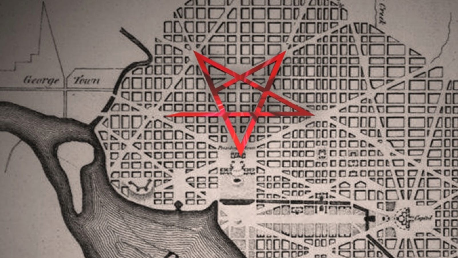 Are the streets of Washington, D C  supposed to form a pentagram?