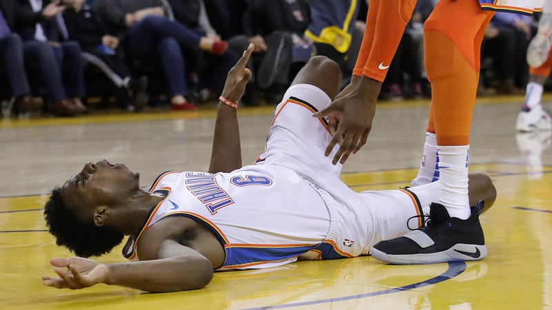 Illustration for article titled Somehow Hamidou Diallo's Bones And Ligaments Survived This Horrifying Fall
