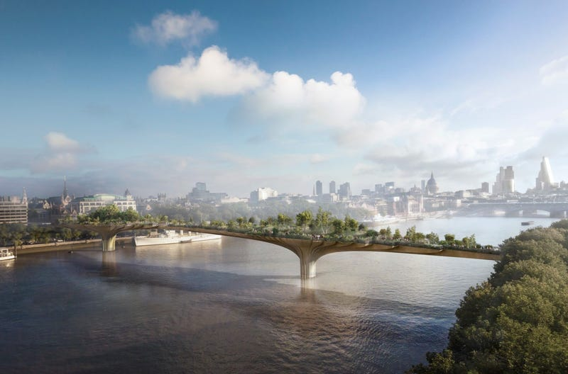 Illustration for article titled Should London Build a Forest Bridge Across the Thames?