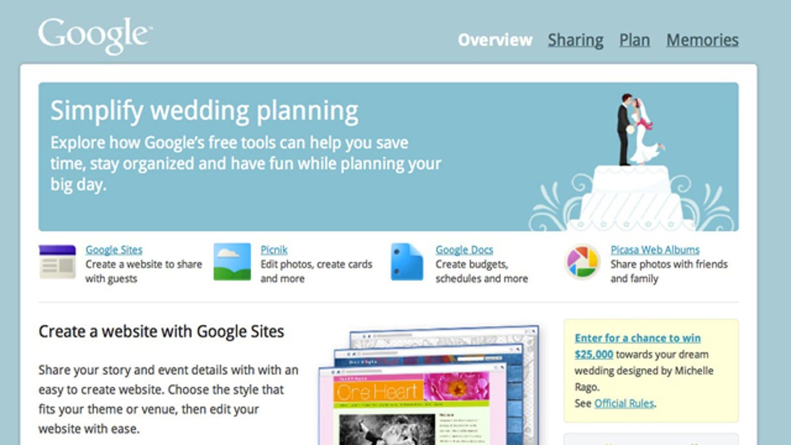 Google Rolls Out Less Heinous Alternative To Wedding Websites
