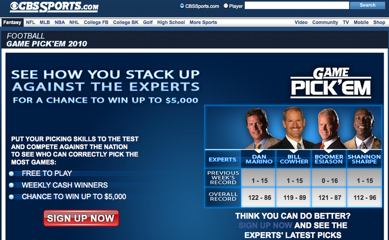 Illustration for article titled CBS Football Experts Were 3-61 In Pick'em Last Week
