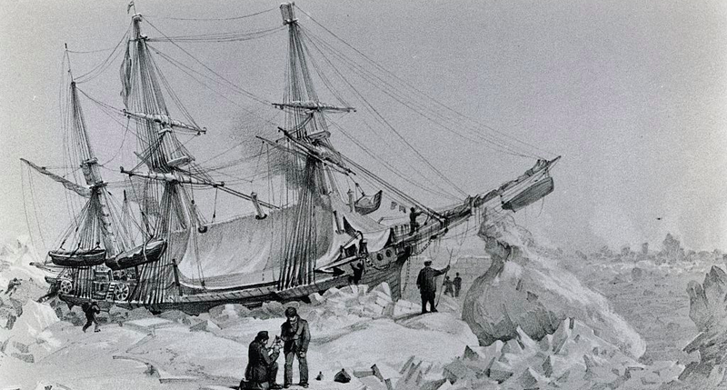 """""""The HMS Terror, commanded by the British admiral George Back (1796-1878), trapped in the ice, February 22, 1837. """" Photo: De Agostini Picture Library / Getty"""