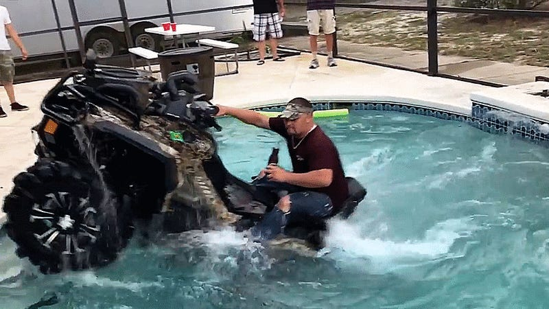 Florida Man Drives Can-Am Right Into Swimming Pool Without Even Spilling His Beer