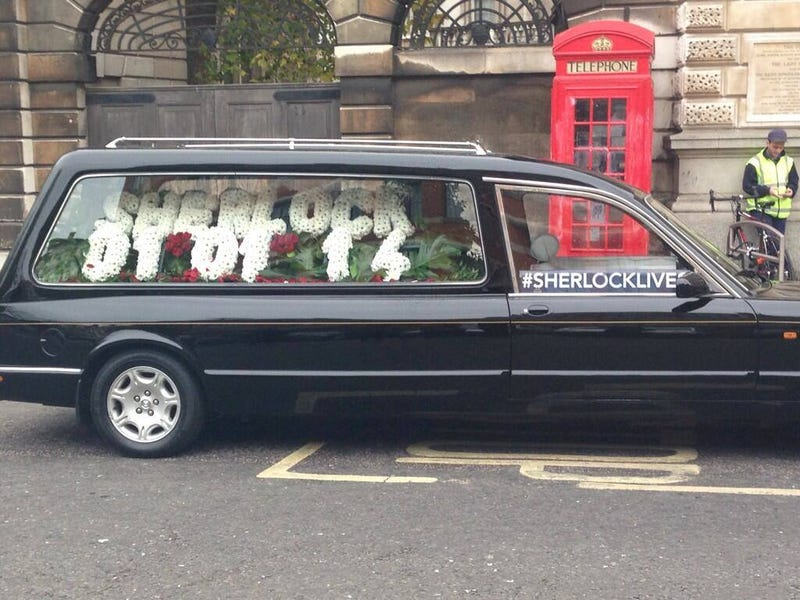 Illustration for article titled The BBC revealed Sherlock Series 3's Transmission date... in a hearse?