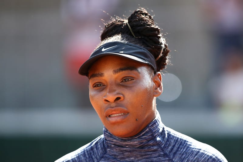 Serena Williams looks on during a practice session ahead of the French Open at Roland-Garros on May 26, 2018, in Paris.