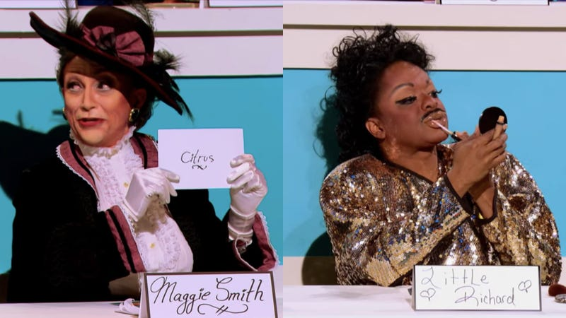 BenDeLaCreme (left) as Maggie Smith (Screenshot: YouTube) and Kennedy Davenport as Little Richard (Screenshot: YouTube)