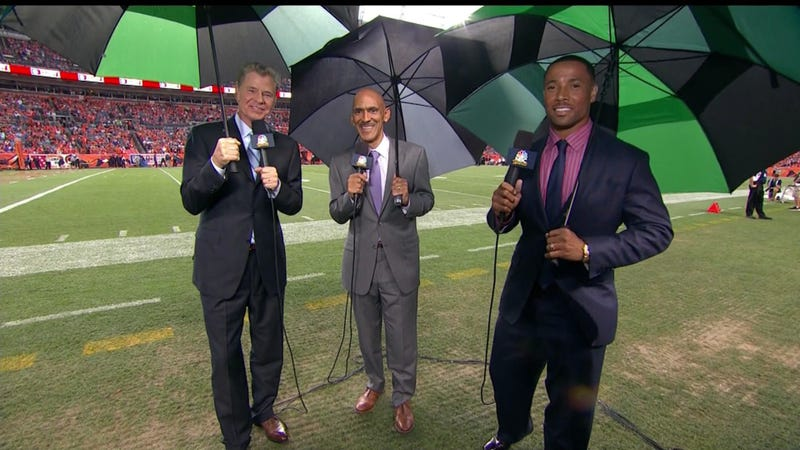 Illustration for article titled Which NBC Sports Personality Doesn't Need An Umbrella?