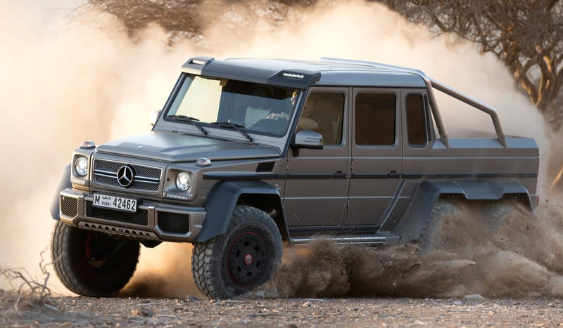 Illustration for article titled Here Is The Outrageous Mercedes G63 AMG 6x6 In All Its Six-Wheeled Glory