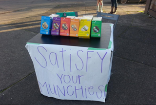 The sign the Girl Scout had up on her little booth in front of Foster Buds in Portland, Ore.Twitter