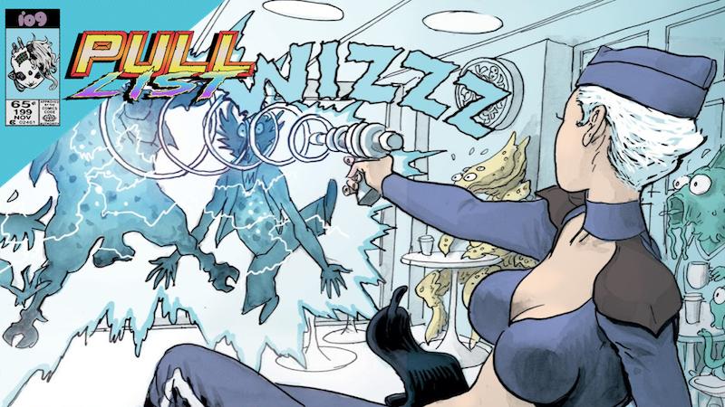 Yoko Keren blasting unruly aliens with her stun gun.