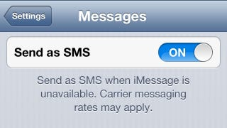 Illustration for article titled When Data Isn't Available, Just Choose to Send Your iMessage as SMS