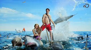 Illustration for article titled Shark Week Announces Presence by Epically Riding in on Sharks