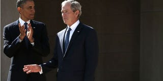 President Obama and former President George W. Bush in Dallas (Getty Images)
