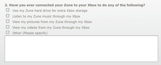 Illustration for article titled Survey Hints That Zune Could Double as Extra Storage For the Xbox