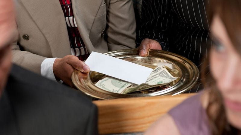Illustration for article titled Report: Majority Of Money Donated At Church Doesn't Make It To God