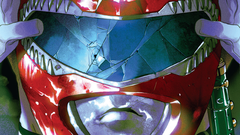 The cover art for Power Rangers #25, which is a bit of a red (ranger) herring.