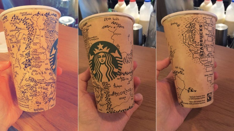 Illustration for article titled Beautiful Map To Middle-Earth Discoverd On Starbucks Cup