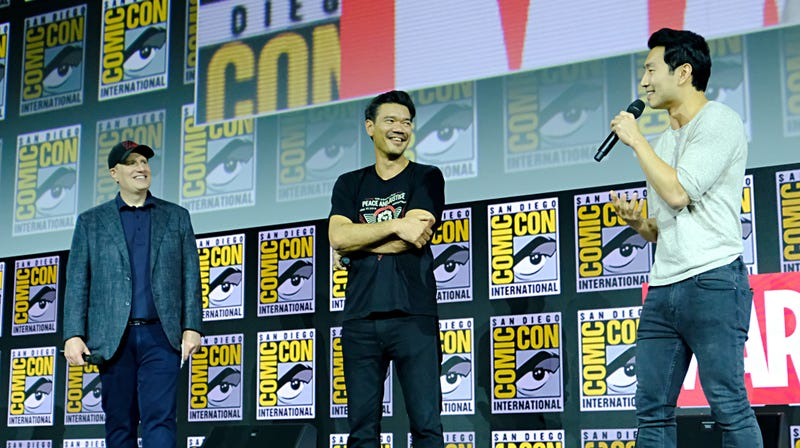 Marvel Studios head Kevin Feige, Shang Chi director Destin Daniel Cretton, and Simu Liu