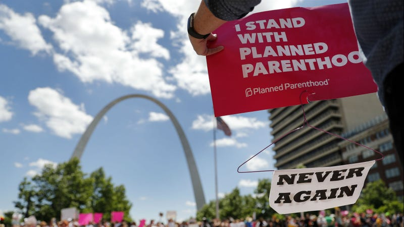 Abortion-rights supporters rally in support of reproductive rights May 30, 2019, in St. Louis. A St. Louis judge issued a restraining order May 31, 2019, prohibiting the state from allowing the license for Missouri's only abortion clinic to lapse.