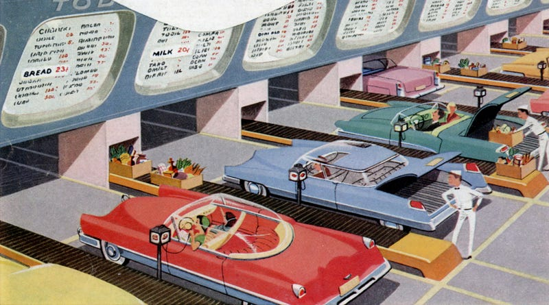 Illustration for article titled This Automated Drive-In Market Was Pretty Retro, Even For 1956