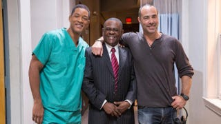 Actor Will Smith, forensic neuropathologist Dr. Bennet Omalu and Concussion director Peter LandesmanCourtesy of Sony Pictures